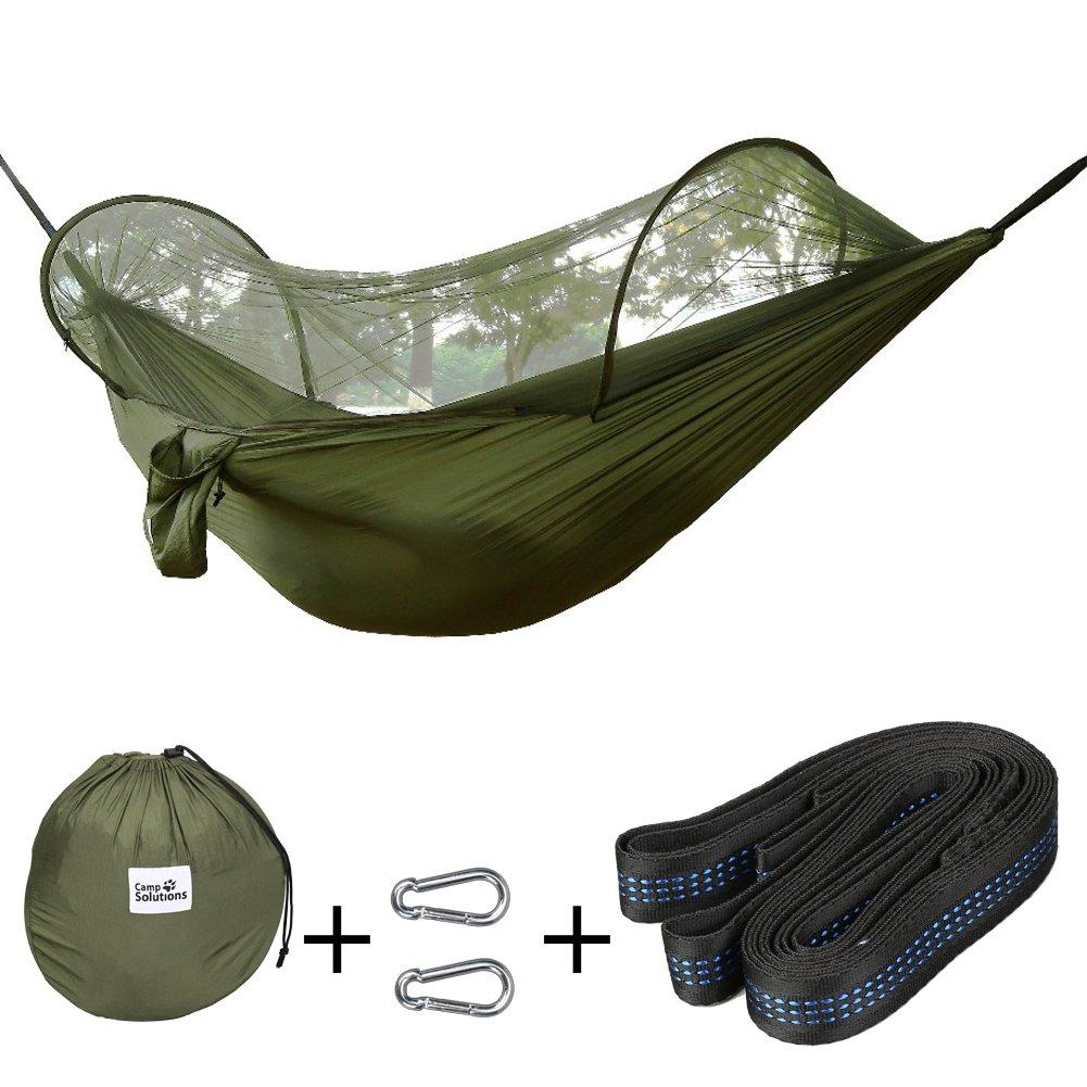 """CampソリューションインスタントHammock withバグMosquito Nettingアウトドアパラシュートハンモックベッドwithカラビナ、ツリーのバックパッキングキャンプ、ストラップ、ビーチ、ハイキング、118 """" ( L ) X 55 """" ( W ) B071DF646J  Green+Straps"""