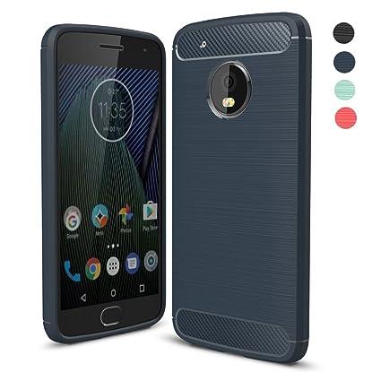 Amytech Funda Lenovo Moto G5 Plus, Negro Silicona Fundas para Motorola Moto G5 Plus Carcasa (5,2 Pulgadas) Fibra de Carbono Funda Case