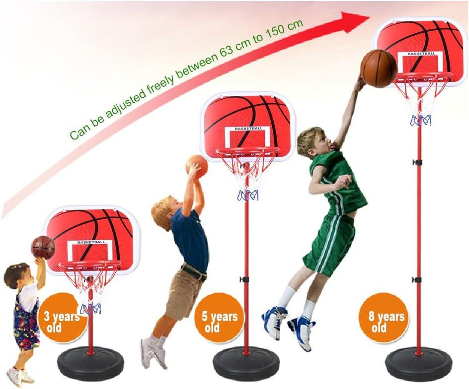 Canasta Baloncesto Infantil Aro de Blaconcesto Se Puede Subir y Bajar para Ni/ños Pellor Ajustable Canasta Aro de Baloncesto