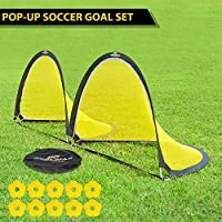 PodiuMax 6ft Pop Up Soccer Goal Sets - 2 Portable Soccer Nets with Carrying Bag and Agility Training Cones for Kids, Teens & Adults