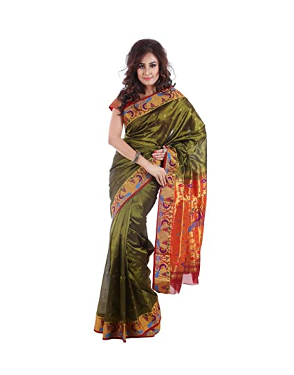 Aruna Fashions Self Design Paithani Art Silk Saree(Mehndi