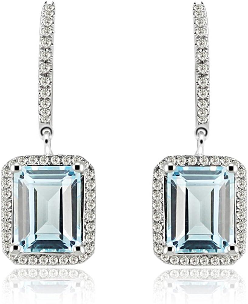 Genuine Emerald White Topaz Gemstone Stud Earrings in 14k Solid Yellow Gold Diamond Minimalist Jewelry