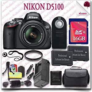 Nikon D5100 Digital SLR Camera with 18-55mm AF-S DX VR (Black) + 16GB SDHC Class 10 Card + SLR Gadget Bag + Wireless Remote 15pc Nikon Saver Bundle
