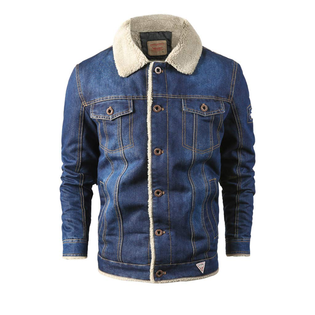 wuliLINL Men's Western Concealed Carry Blanket Lined Denim Jacket(Blue,XL) by wuliLINL
