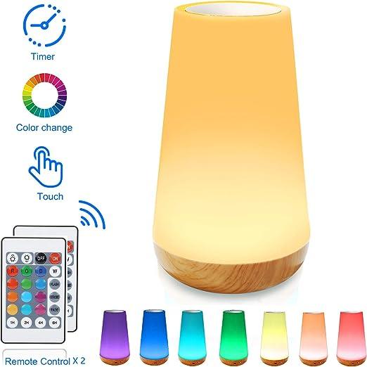 Veilleuse Led Lampe De Chevet Colorée à 360 Lampe Nuit Rechargeable Avec Toucher Luminosité Ajustable Télécommande Pour Chambre à Coucher Chambre