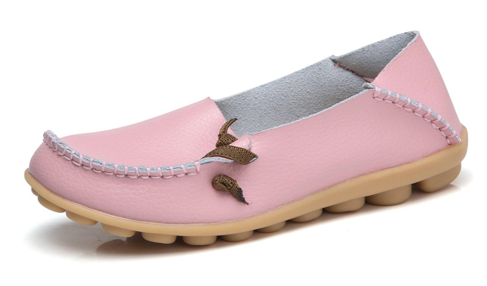 VenusCelia Women's Comfort Walking Cute Flat Loafer(5 M US,Pink)