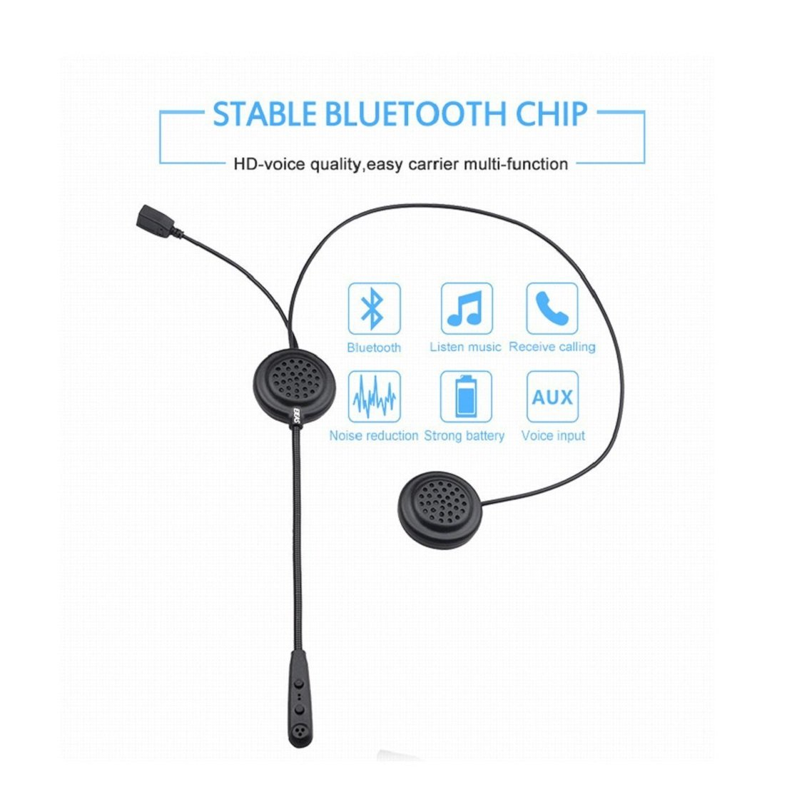 E200 Waterproof Bluetooth Helmet Headset 2 Riders Motorcycle Helmet Intercom 300M Communication System with AUX Input for Motorcycles and Skiing Esoku