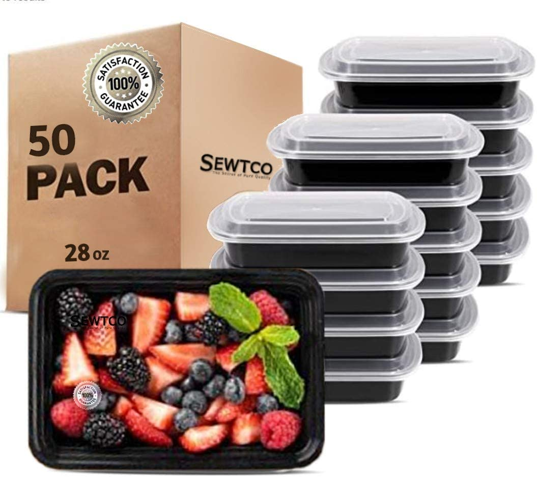 Meal Prep Containers, Microwave Freezer Safe Food Storage Containers Meal Prep, The Best Food Prep Lunch Containers With Lid by SEWTCO (White lids and Black container, 28oz 50 Pack)