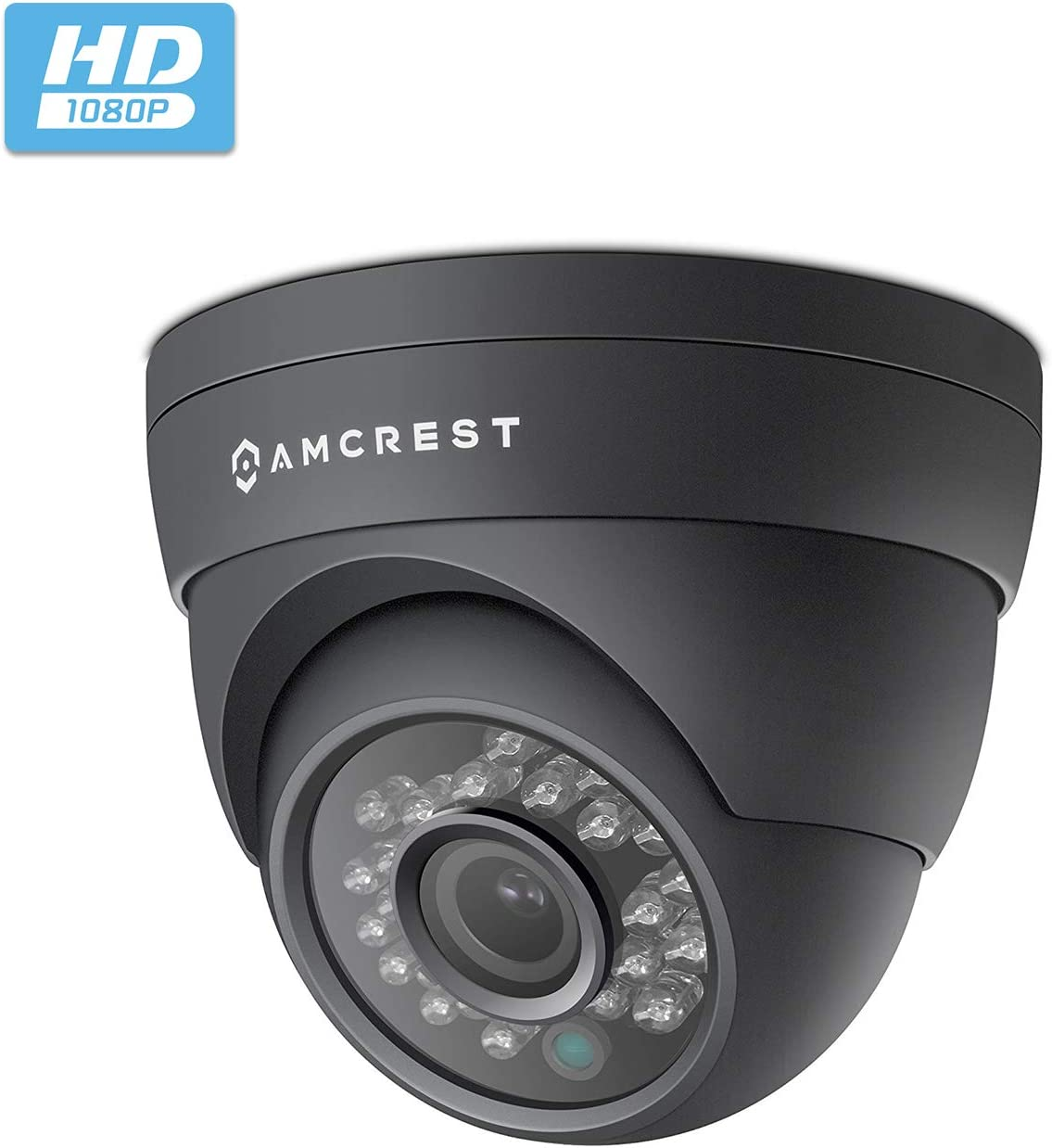Amcrest Full HD 1080P 1920TVL Dome Outdoor Security Camera Quadbrid 4-in1 HD-CVI TVI AHD Analog , 2MP 1920×1080, 65ft Night Vision, Metal Housing, 2.8mm Lens 95 Viewing Angle, Black AF-2MDT-28B
