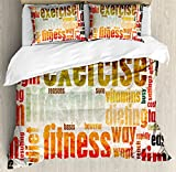Fitness Duvet Cover Set Queen Size by Ambesonne, Grungy Framework with Different Words Healthcare Concept Diet Endurance Exercising, Decorative 3 Piece Bedding Set with 2 Pillow Shams, Multicolor