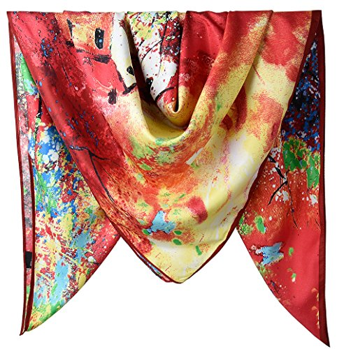 """40"""" Women Twill Satin Polyester Silk Feeling Square Hair Wrapping Sleeping Square Scarfs Firebrick Landscape"""