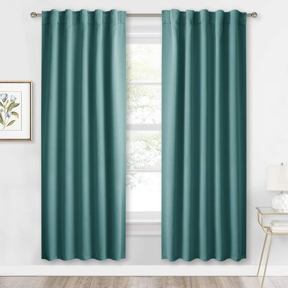 RYB HOME Window Treatment Panels for Bedroom, Blackout Drapes for School Dorm Office Baby Nursery Sun Room Garage, Sunlight Block for Energy Saving, Width 42-inch x Length 72 inch, Teal, 2 Pieces