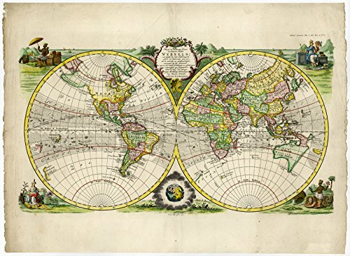 (Rare Antique Map-WORLD MAP-DOUBLE HEMISPHERE-Bowen-Bachiene-Van Jagen-1772)