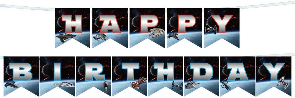 Happy Birthday Star Wars Banner for Star Wars theme Party