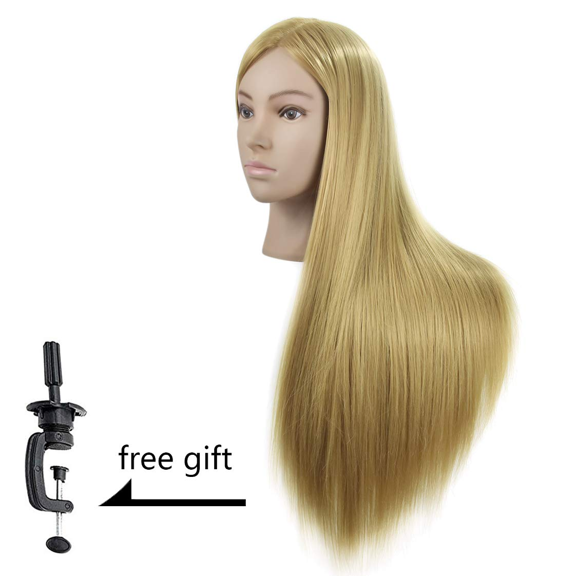 Wansi 26- 28 Training Head Hairdressing Mannequin Head Cosmetology Manikin Doll Head Synthetic Hair with Free Clamp