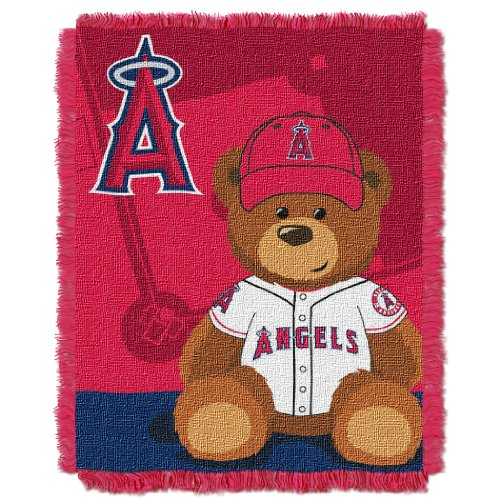 The Northwest Company MLB Los Angeles Angels Field Bear Woven Jacquard Baby Throw, 36