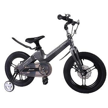 1-1 Bicicleta para niños Ligero Aleación de magnesio Freno de Disco Doble Absorción de Golpes Altura Ajustable Niño Niña 14 Pulgadas Bicicleta,Black: ...