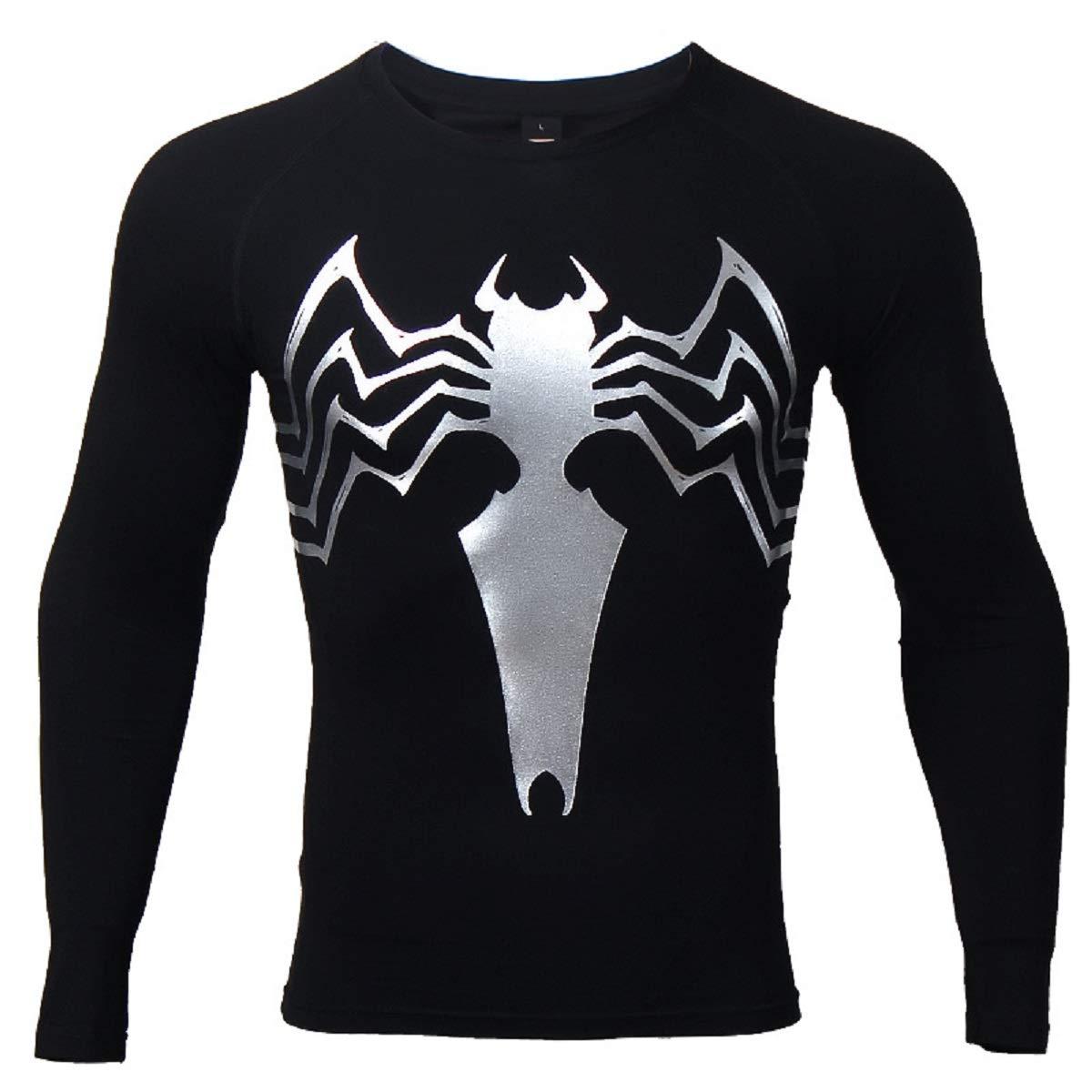 8593b2bb Amazon.com: Spider Compression Shirt 3D Print T-Shirt Men Gym Tight Tops  Black: Clothing
