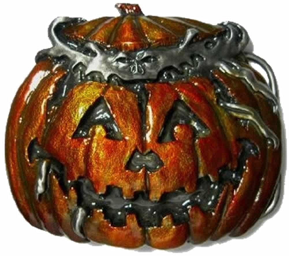 Haloween Pumpkin - Jack o Lantern Belt Buckle + display stand