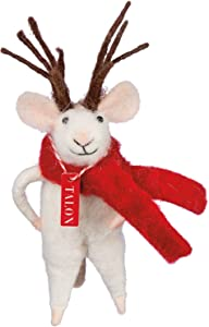 """Reindeer Mouse 4"""" Primitives by Kathy Holiday Decor Ornament or Village Figure"""