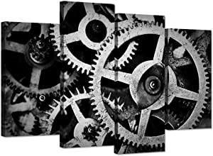 Hello Artwork 4 Panel Canvas Wall Art Mechanical Gear Cogs Old Factory Painting Engineer Team Motivation Inspiration Pictures Print For Modern Home Decor Stretched and Framed Ready to Hang 48x32inch