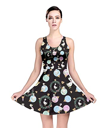 CowCow Womens Cute Duckling Black Ornaments Reversible Skater Dress - XS de389bc26b