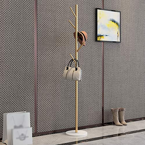 LYN-MEMORY Coat Rack, Coat Rack - Nordic Wrought Iron Bedroom Floor-Standing Marble Hanger - Living Room Hanger - Clothes Stand with 5 Hooks for Clothes Scarves and Hats 170CM(H)