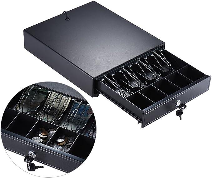 5 Einstellbar Scheinf/ächern 5 M/ünzf/ächern Elektrisch//Manuell Push /Öffnen Tastensperre DC12V DC24V RJ11 Stecker f/ür POS Drucker Registrierkasse Aibecy Schwerlast Kassenschublade Cash Drawer