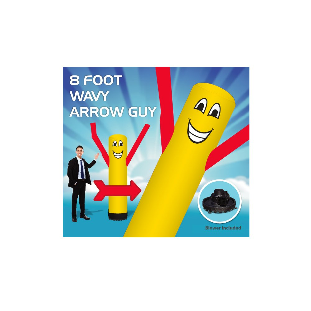 8 Foot Arrow Wavy Guy - Inflatable Tube Man – Sky Puppet Dancing Balloon. Yellow Body with Red Arms-18 inch 250 Watt Fan Included. by EasyGoProducts