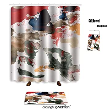 Vanfan Bath Sets With Polyester Rugs And Shower Curtain Acrylic On Paper Abstract Background Art Text
