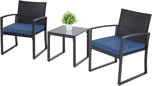 Incbruce 3 Pieces Patio Bistro Set Outside Rattan Chair Conversation Furniture Outdoor Wicker Furniture Set