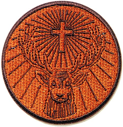 The Saint Behind The Jagermeister Cross Deer Christian Jesus Patch Iron on Sew Embroidered Applique Logo Badge Sign Symbol Embelm Craft Costume Gift (Cross Pin Craft)
