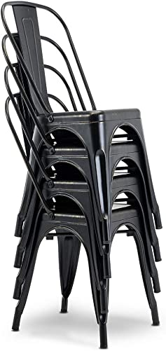 Stackable Patio Dining Chairs Set of 4 Indoor Outdoor Chairs Kitchen Metal Chair Max Load 330lbs
