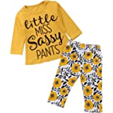 SUPEYA Baby Girl Little Miss Sassy Pants Letter Print T-Shirt Floral Pants Outfits
