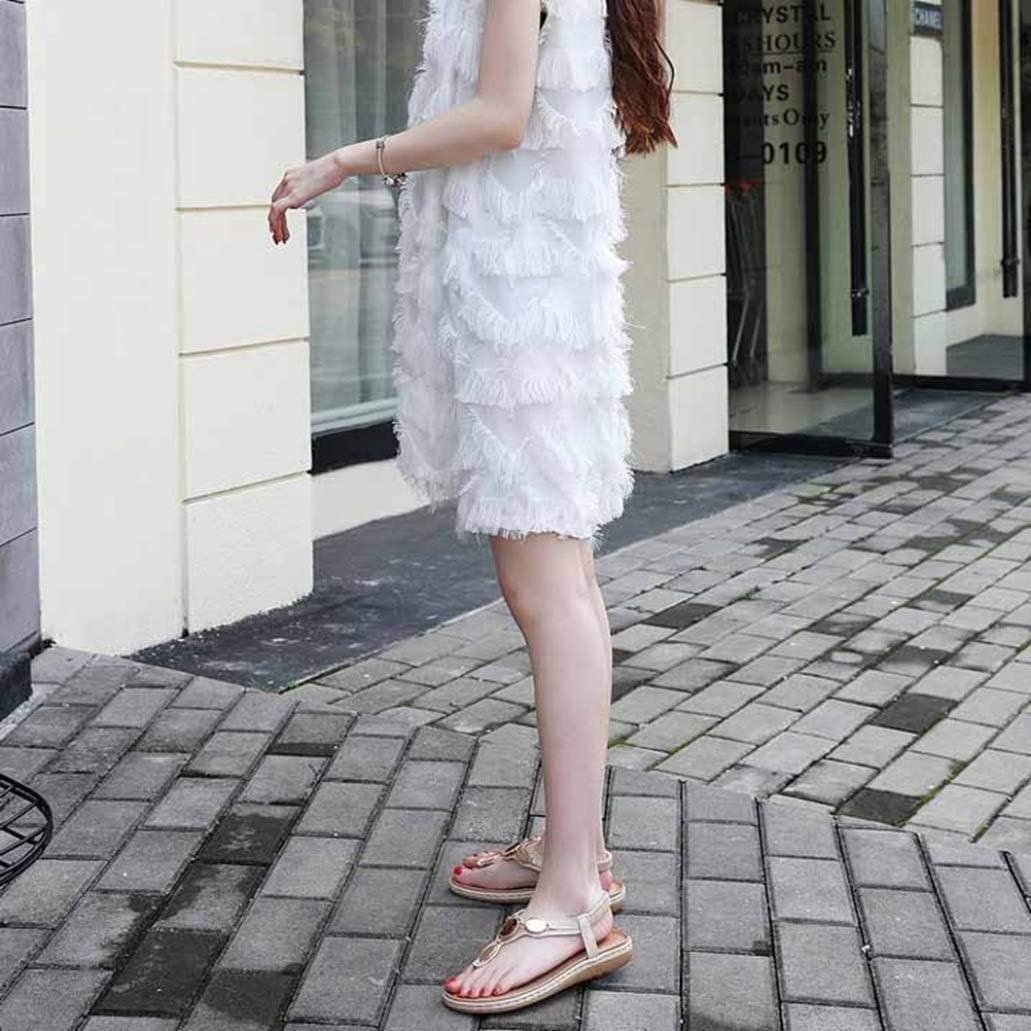 ODOKAY Summer Flip Flop Flat Sandals for Women Rhinestone Vintage Metal Buckle Low Heel Wedge Thongs Sandal