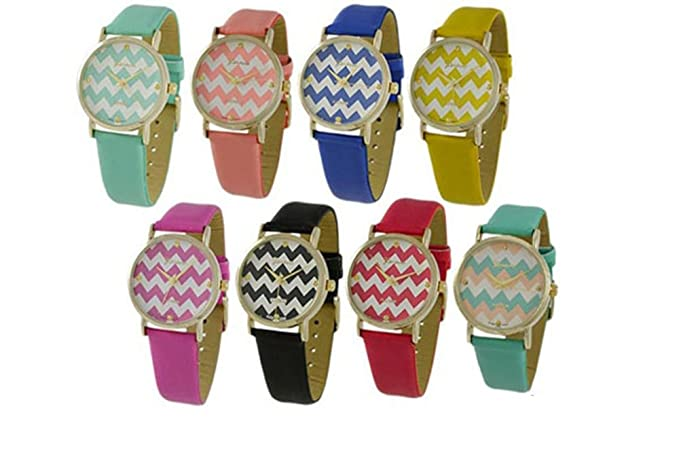 Wholesale Lot of 6 PCS Leather Chevron Watches - 9746