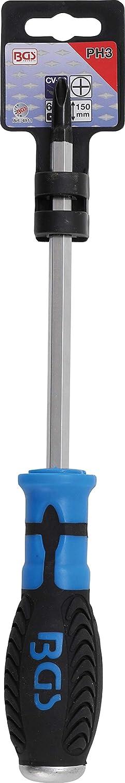 Kreuzschlitz PH0 Schraubendreher Klingenl/änge 100 mm BGS 4907