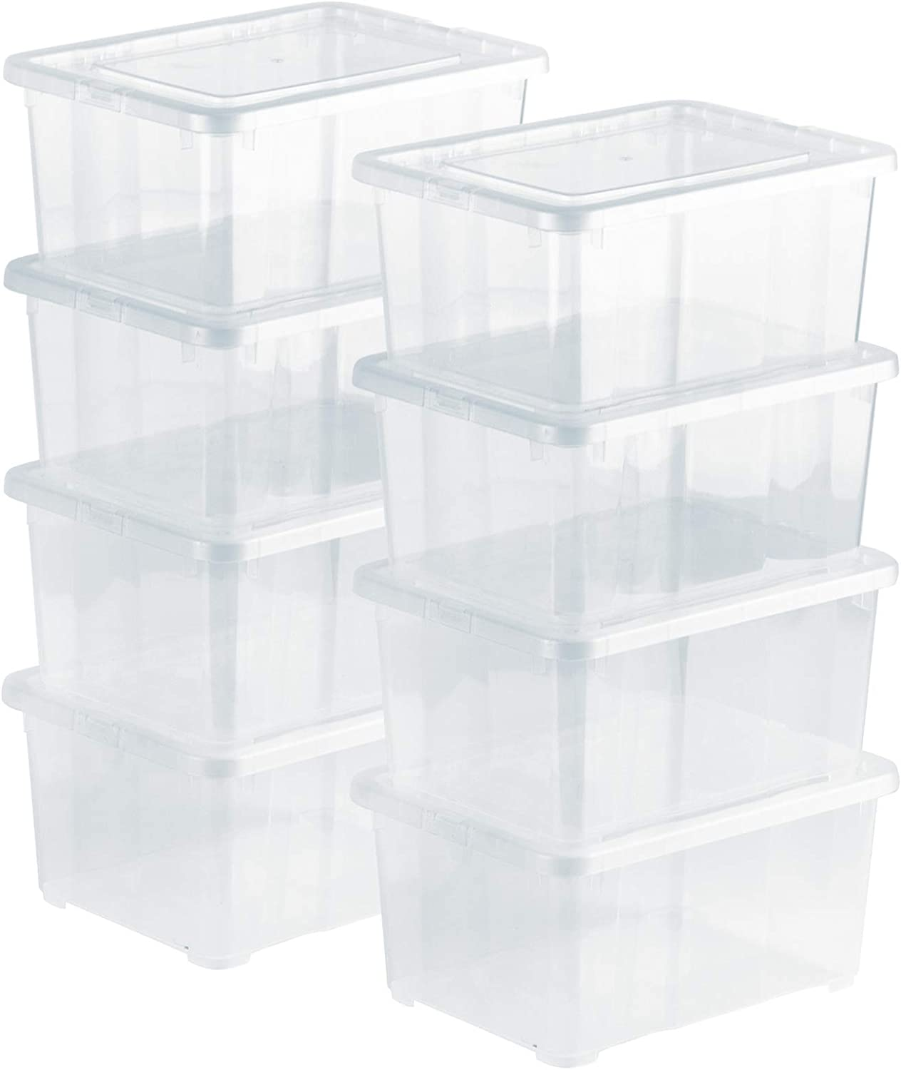 Grizzly 8 x Small Organizing Boxes with Lids - 1.7 Litre - 7.5x5.7x3.5 inch (19x14.5x9 cm) - Stackable Clear Containers - Transparent Organiser