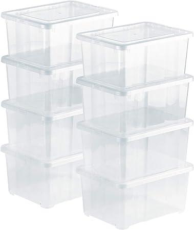 Grizzly 8 x Caja de Almacenaje con Tapa de 1,7 L - Cajón de Plástico Transparente Apilable - Caja Multiusos Organizador de Armarios para Ordenación de Ropa: Amazon.es: Bricolaje y herramientas
