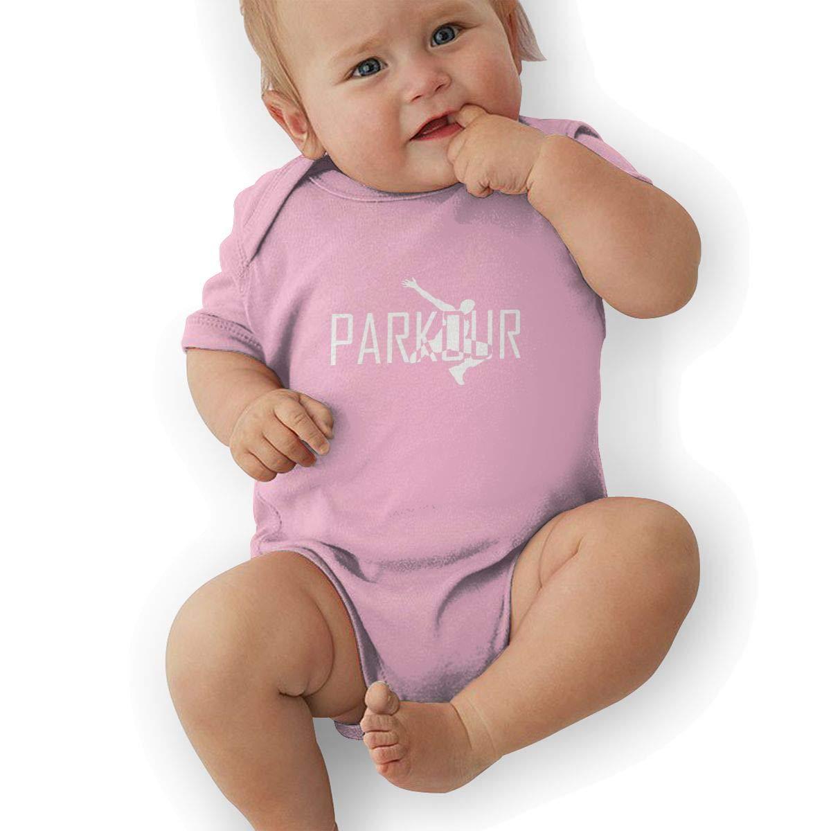 Newborn Baby Girls Bodysuit Short-Sleeve Onesie Parkour Print Jumpsuit Summer Pajamas