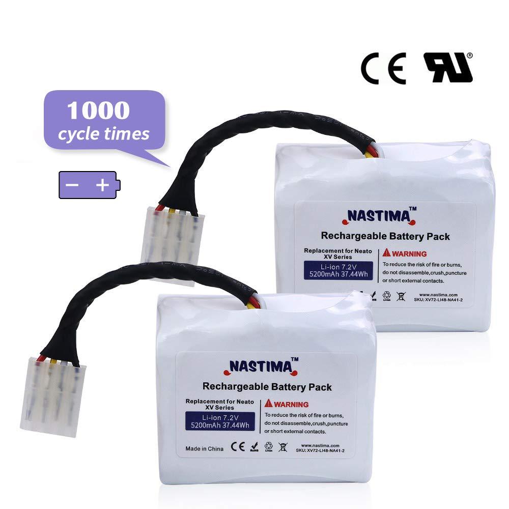NASTIMA Upgrade 7.2V 5200mAh Li-ion Battery Replacement for Neato XV11 XV12 XV14 XV15 XV21 XV25, XV Essential, XV Signature, XV Signature Proo Robotic Vacuum Cleaner by NASTIMA