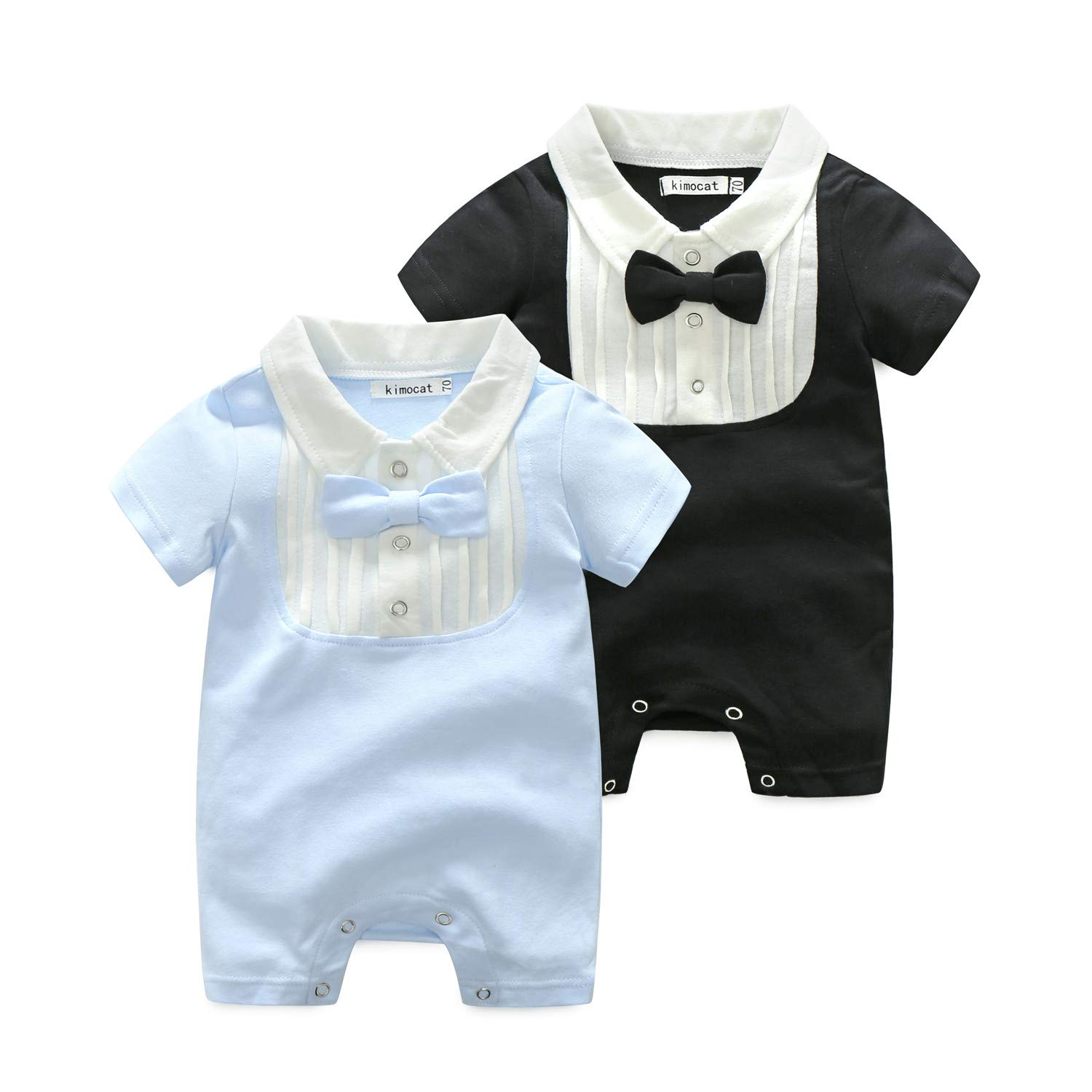 Baby Boys Short Sleeve Bowtie Rompers Cotton Gentlemen One-Piece Coverall
