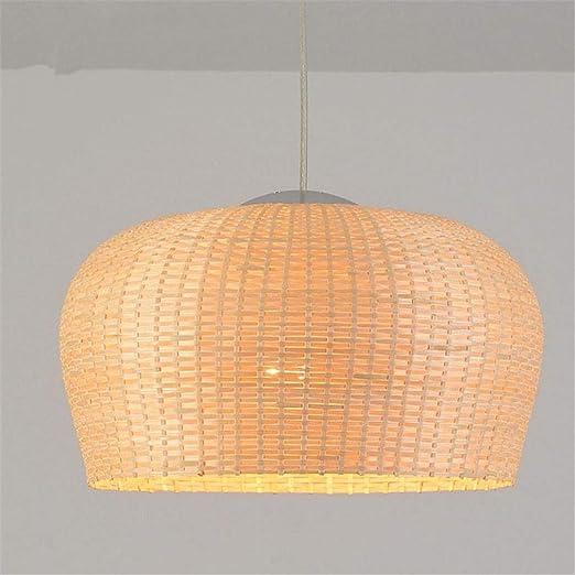 Lámpara Mimbre Iluminación Bambú Techo De Luz De Colgante LA34R5j