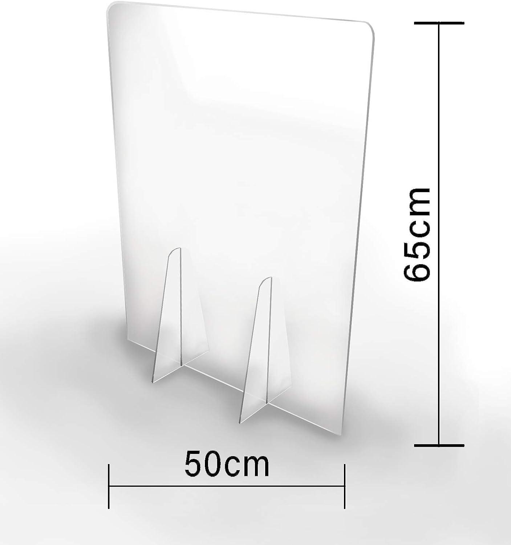 Pantalla Protección Mostrador 50x65cm - PET Policarbonato Transparente 3mm - Mampara para Mostradores ULTRARESISTENTE y ESTABLE - Separador Transparente para Colegios Supermercados Farmacias Tiendas: Amazon.es: Oficina y papelería