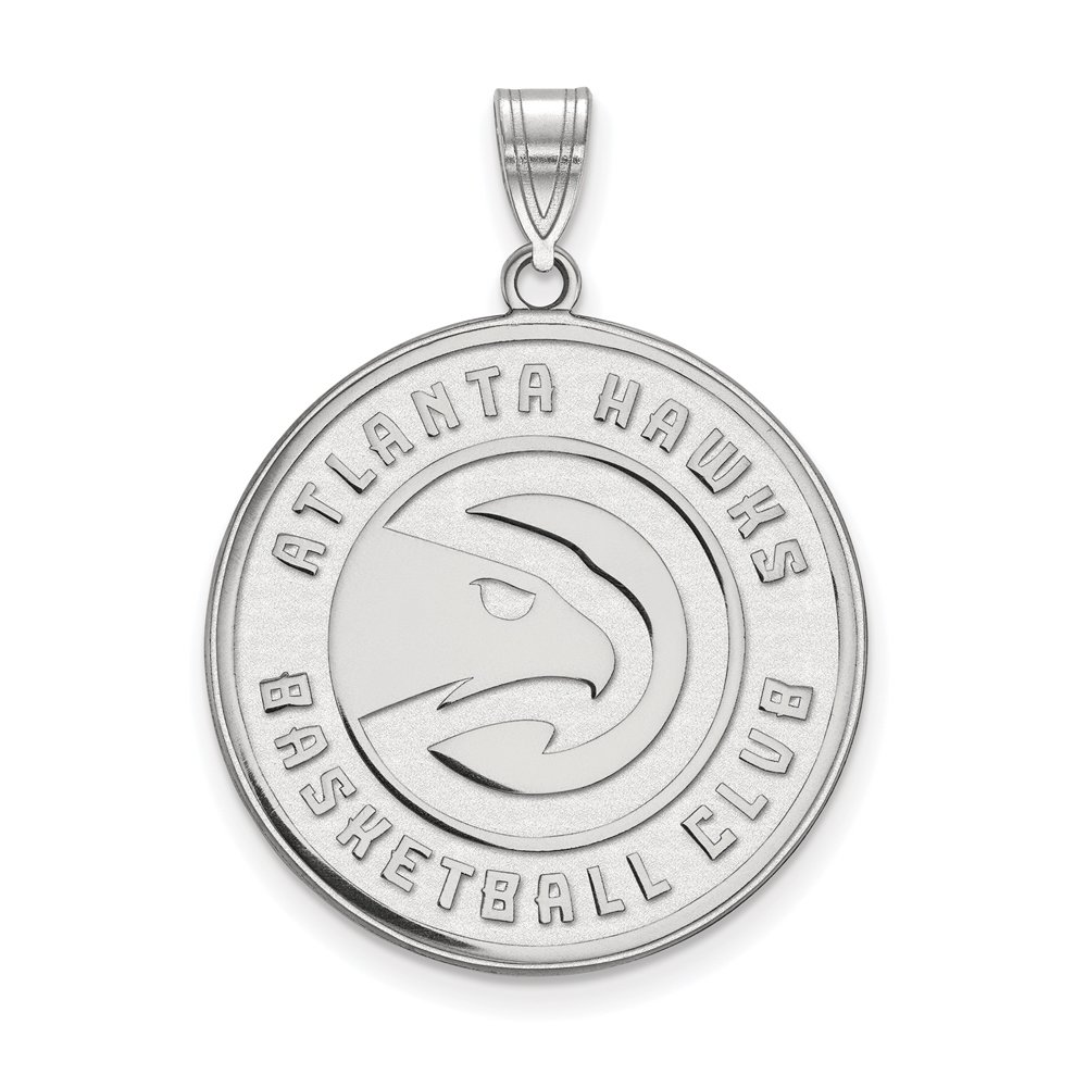 NBA Atlanta Hawks Small Logo Pendant in Rhodium Plated Sterling Silver