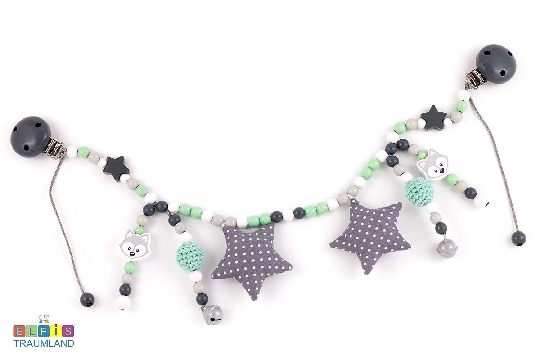 Kinderwagenkette // Fuchs Sterne Stoffsterne // grau weiß mint // Junge