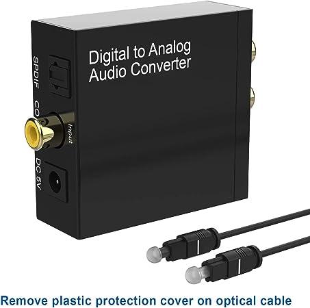 192KHz Convertidor Digital Analógico DAC Audio Óptico Coaxial(RCA) Toslink SPDIF de Audio Estéreo R / L y Jack 3.5mm con Cable Óptico y Cable USB DC/5V para PS4 Xbox BLU-Ray HDTV: Amazon.es: