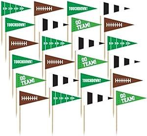 Amscan 400062 Football Flag Picks, Party Decoration, 1 piece
