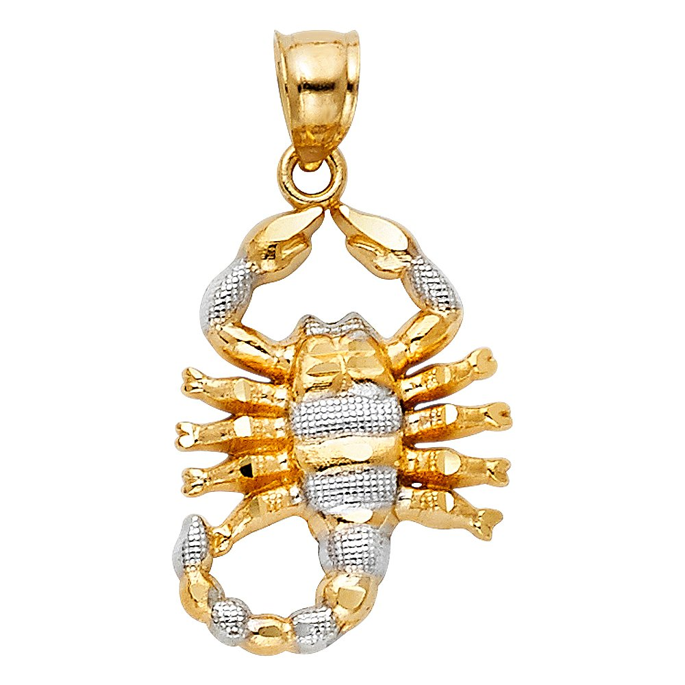 14K Two Tone Gold Scorpion Charm Pendant with 1.8mm Singapore Chain Necklace