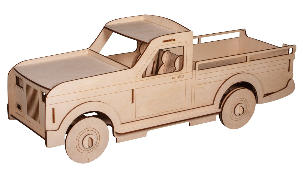 Rayher 62832000 Construction Kit Wooden Truck with Interlocking Parts, Wood Building Set, 50 Slot-Together Pieces, 51x17.7x20.5cm